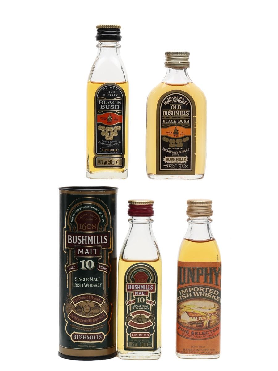 Bushmills & Dunphy's Irish Whiskey Bottled 1970s & 1980s 4 x 4cl-5cl / 40%