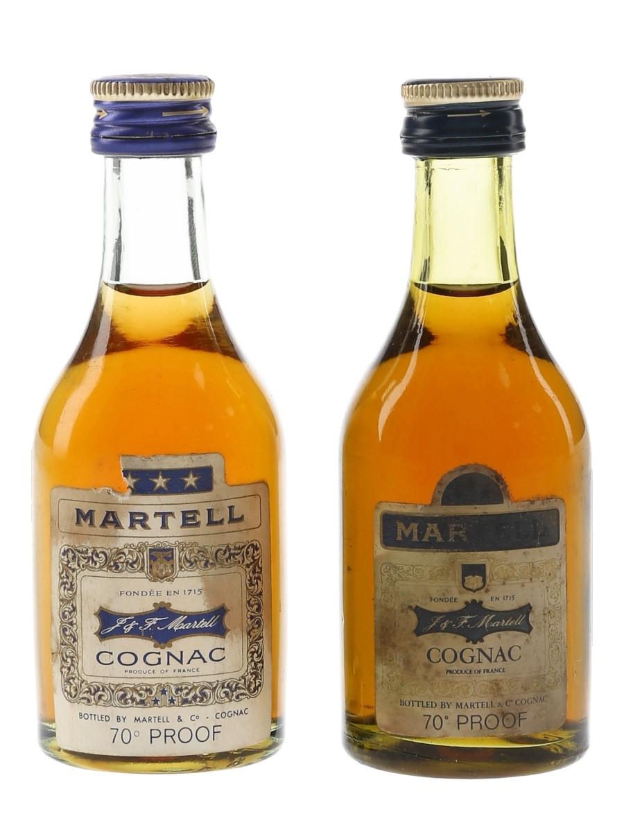 Martell 3 Star Bottled 1970s 2 x 5cl / 40%