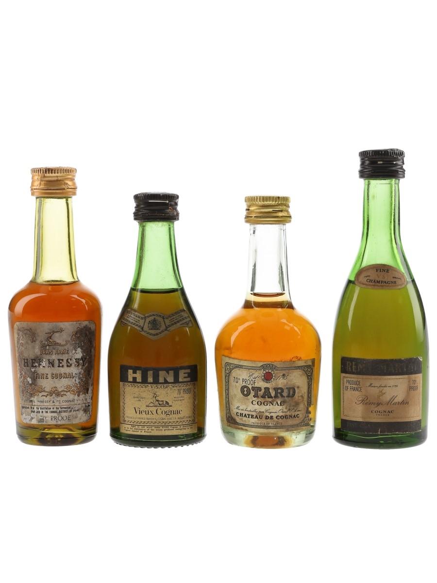 Hennessy, Hine, Otard & Remy Martin Bottled 1970s 4 x 5cl / 40%