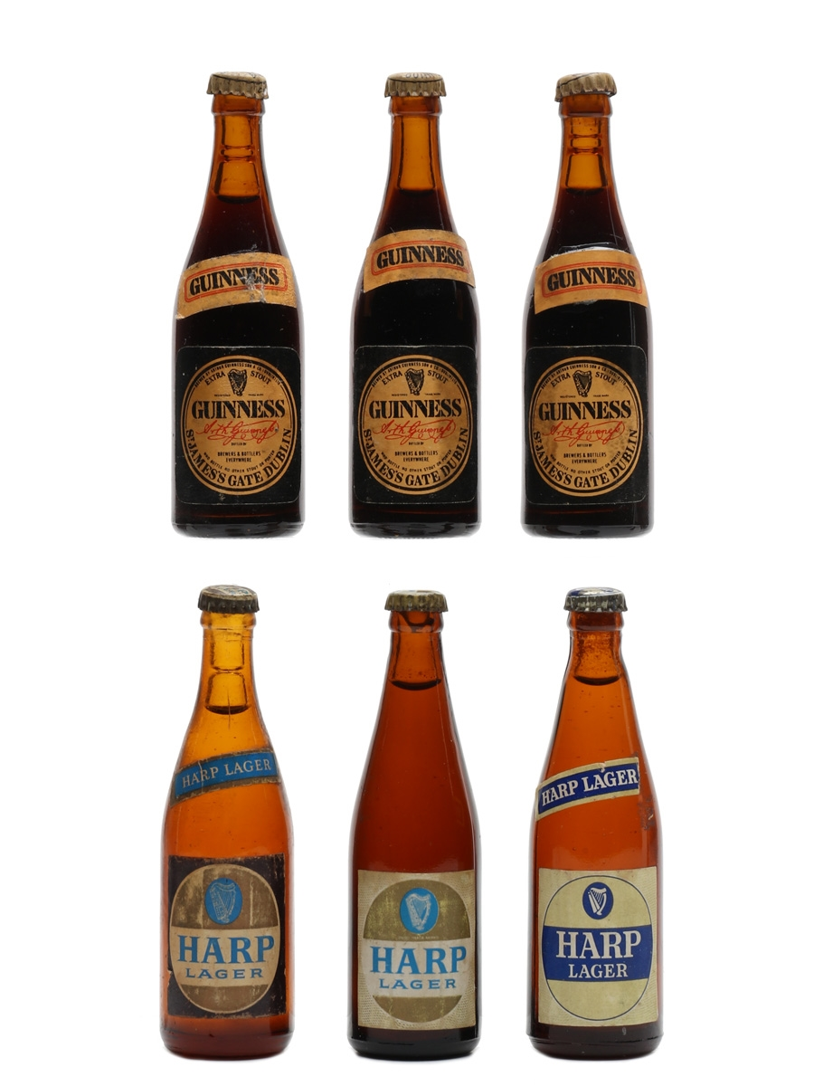 Assorted Tiny Beer Bottles Harp & Guinness 6 x 1cl
