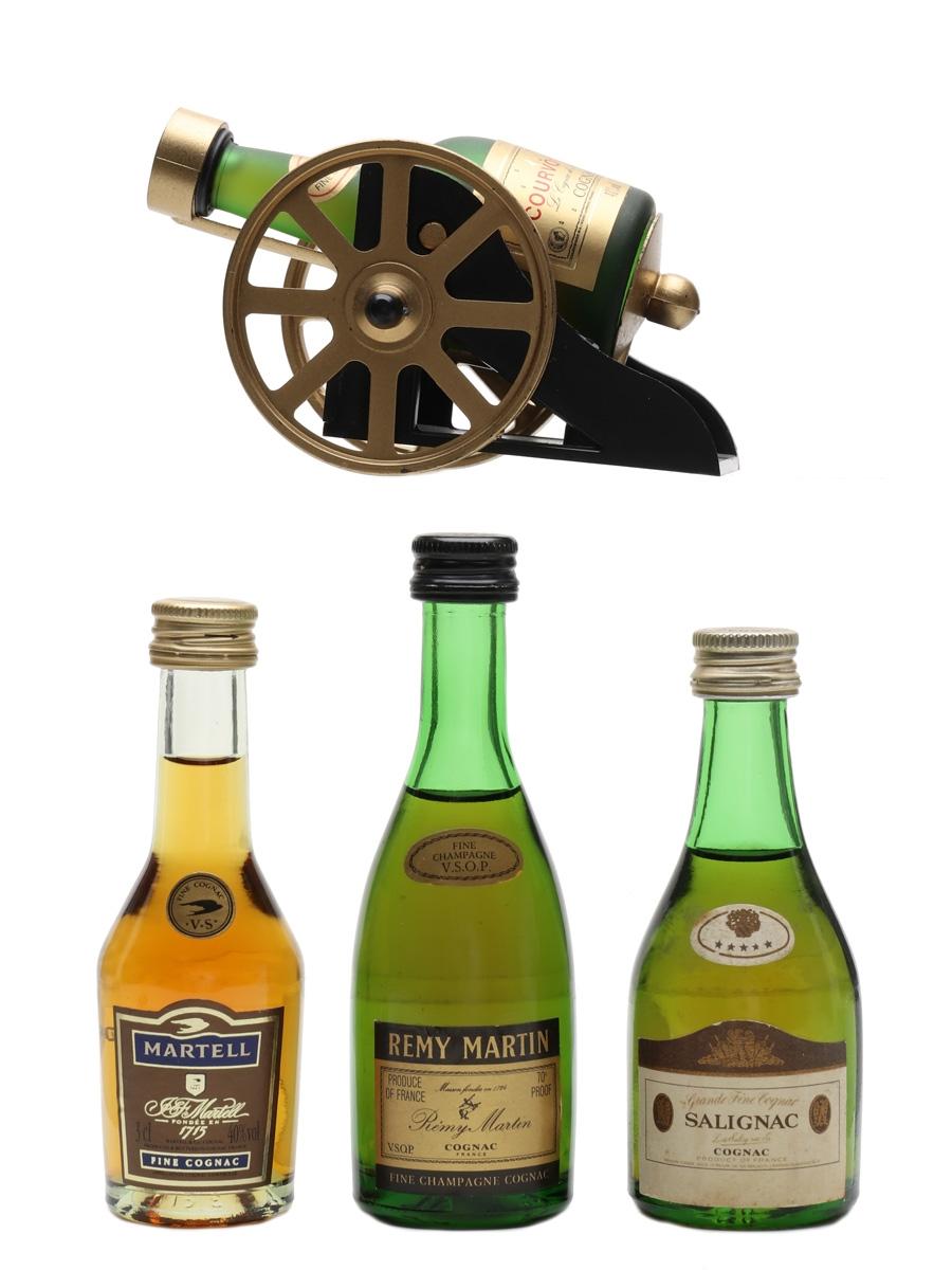 Courvoisier, Martell, Remy Martin & Salignac  4 x 3cl-5cl