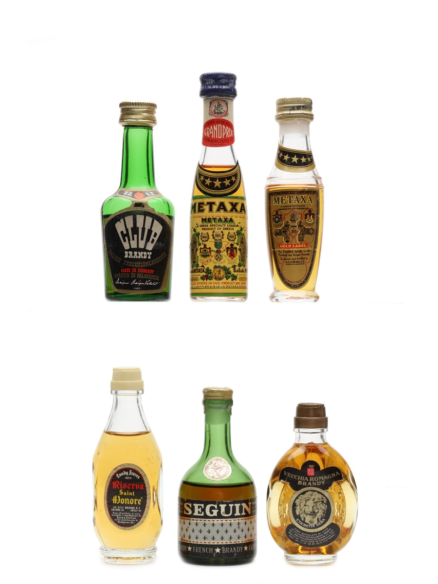 Assorted Brandy Buton, Landy Freres, Metaxa, Seguin 6 x 3cl-5cl