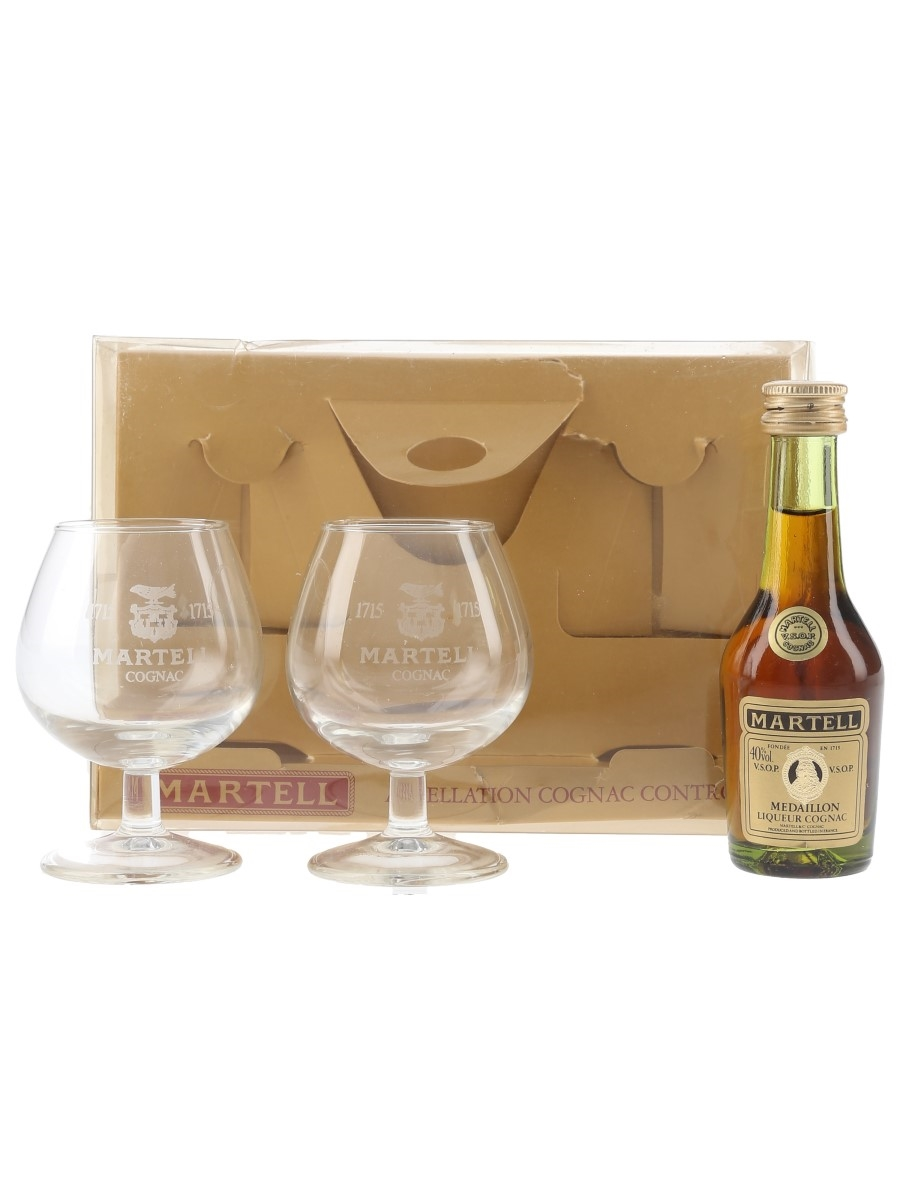Martell Medaillon VSOP Bottled 1980s - Glasses Gift Pack 5cl / 40%