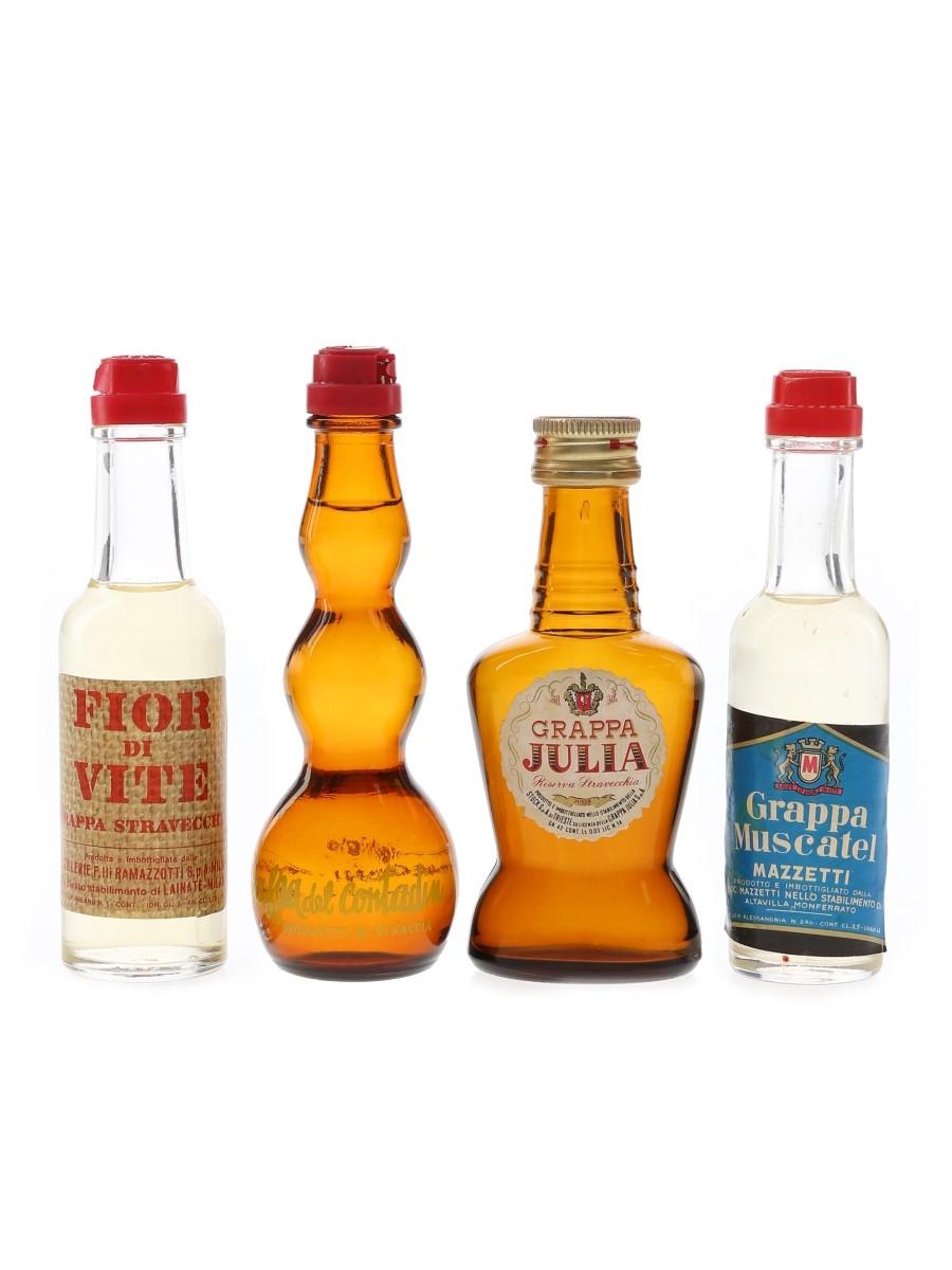 Mazzetti, Ramazzotti, Negroni & Stock Grappa Bottled 1980s 4 x 2.5cl-3cl