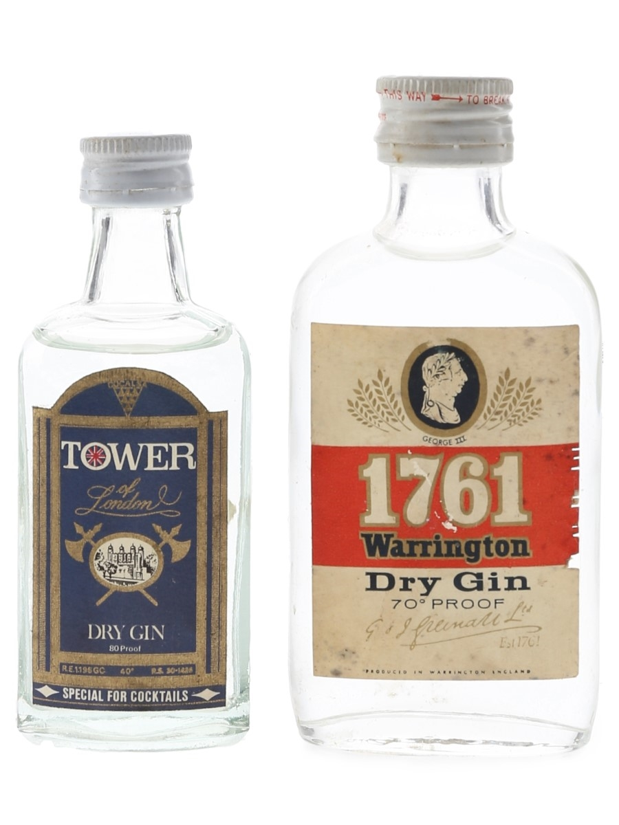Greenall's 1761 Warrington & Tower Of London Dry Gin Bottled 1970s 2 x 5cl / 40%