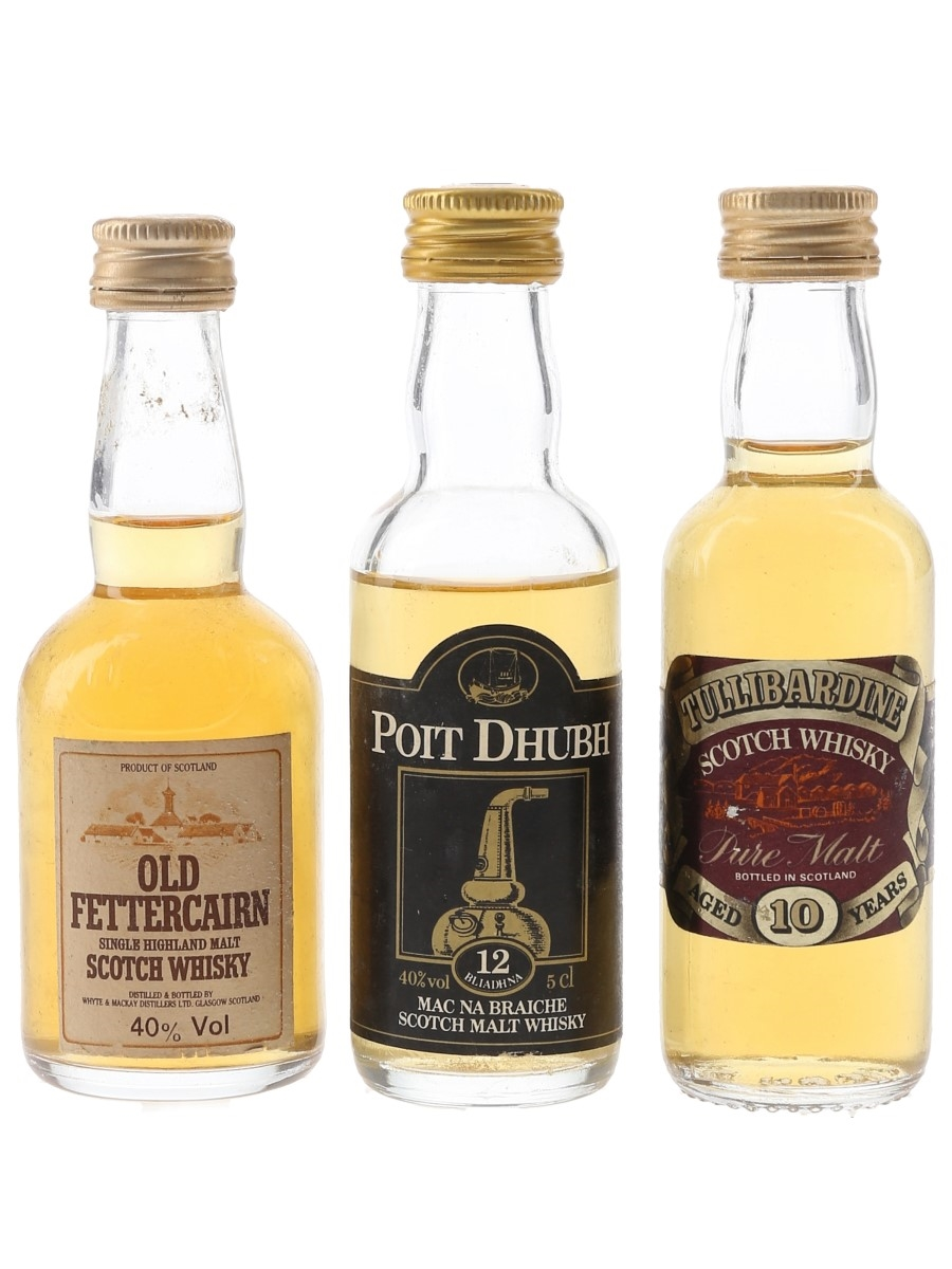 Old Fettercairn, Poit Dhubh & Tullibardine Bottled 1980s 3 x 5cl / 40%