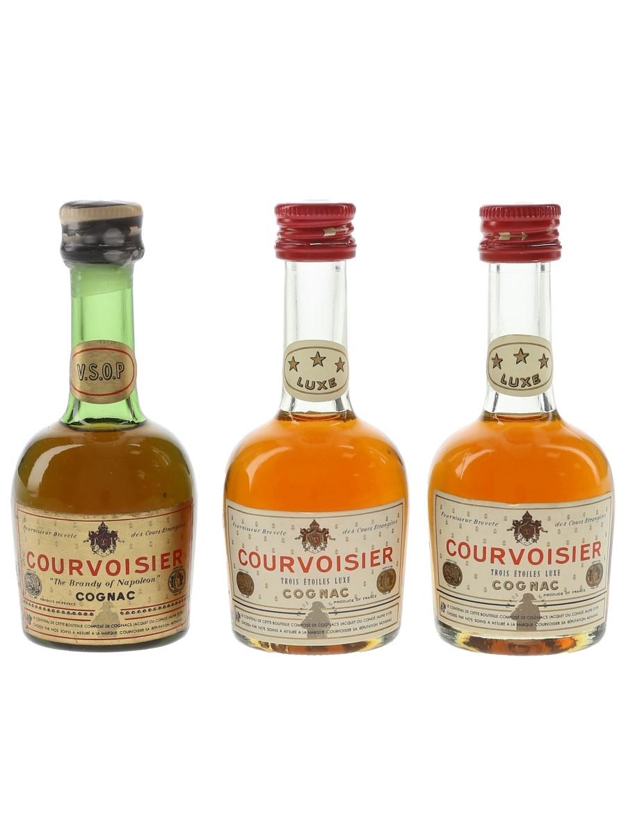 Courvoisier 3 Star Luxe & VSOP Bottled 1970s & 1980s 3 x 5cl / 40%