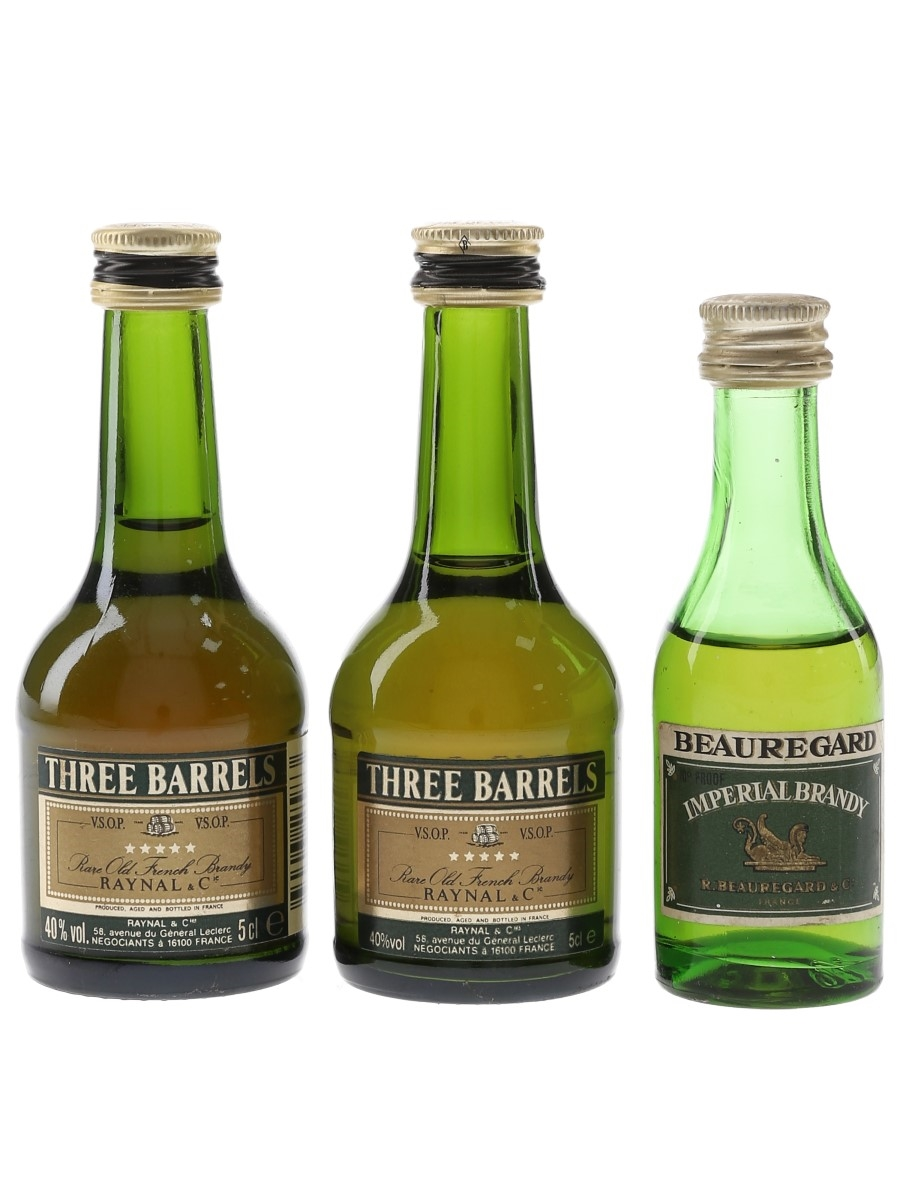 Beauregard & Three Barrels Brandy  3 x 5cl / 40%