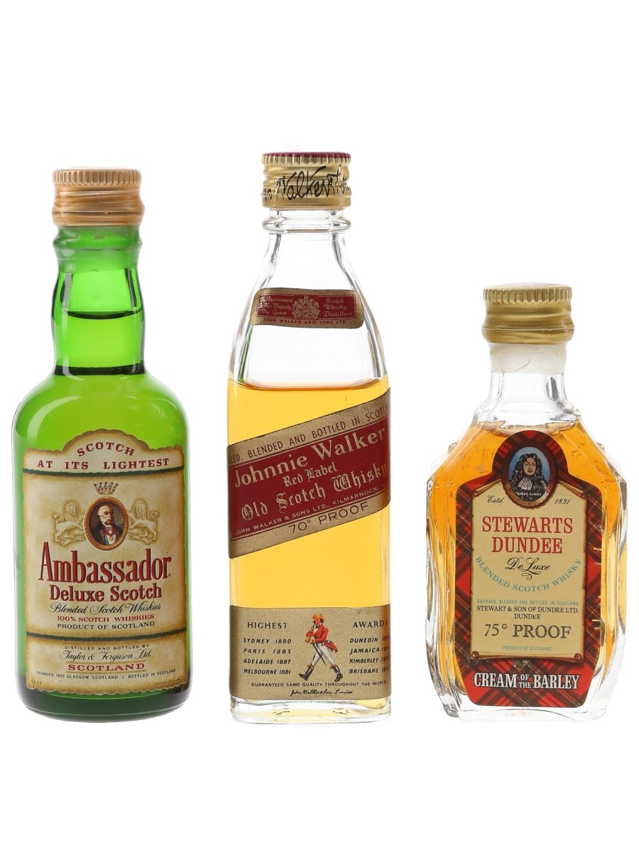 Ambassador, Johnnie Walker & Stewarts Dundee Bottled 1970s 3 x 5cl