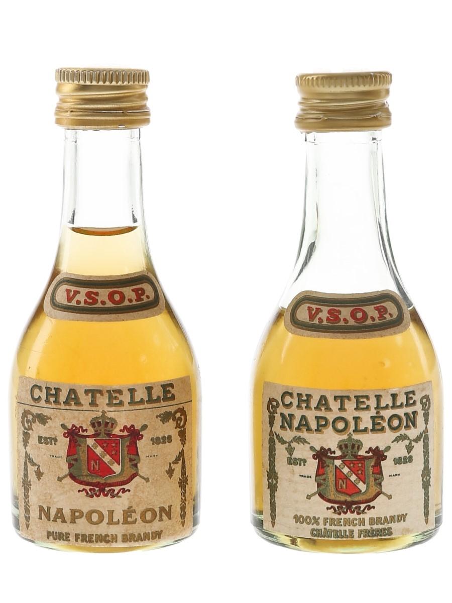 Chatelle VSOP Napoleon Brandy Bottled 1960s-1970s 2 x 5cl