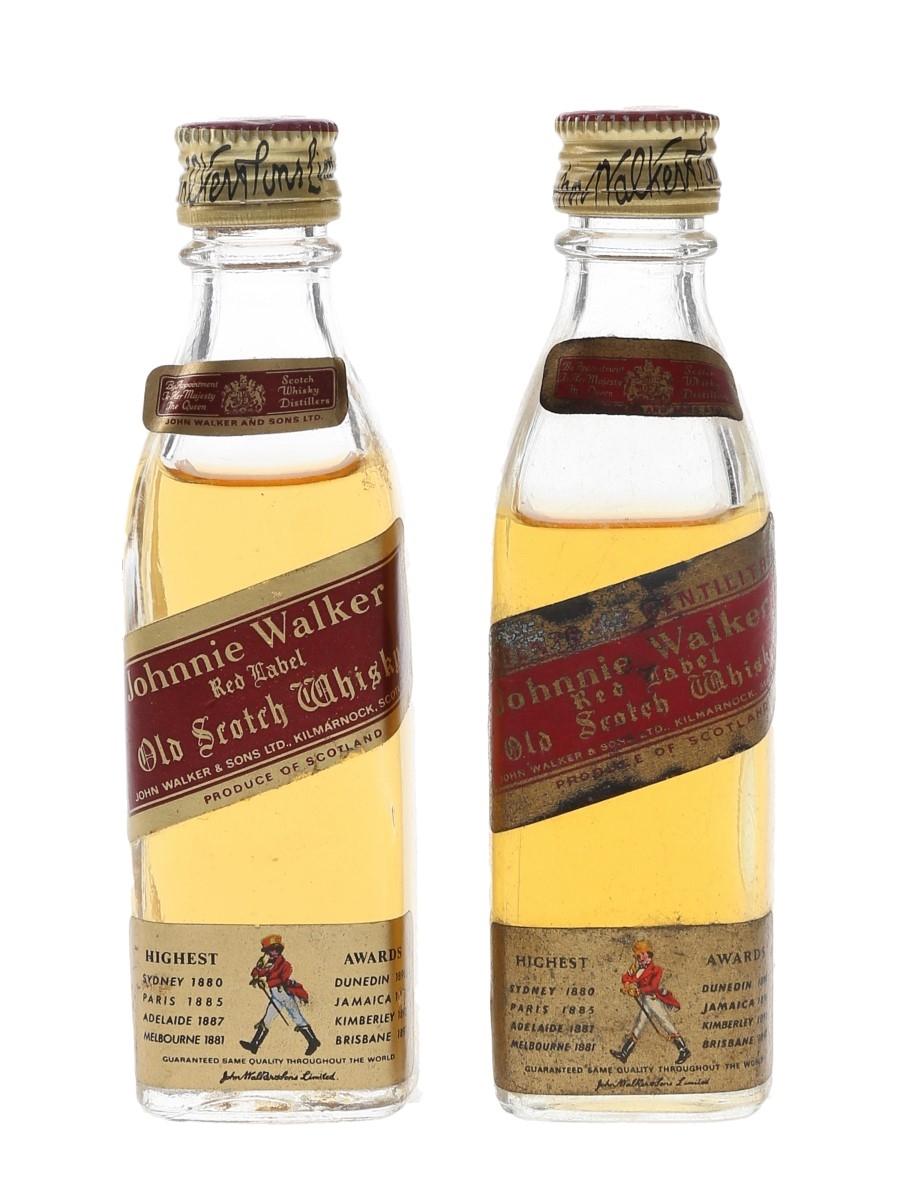 Johnnie Walker Red Label Bottled 1970s 2 x 5cl