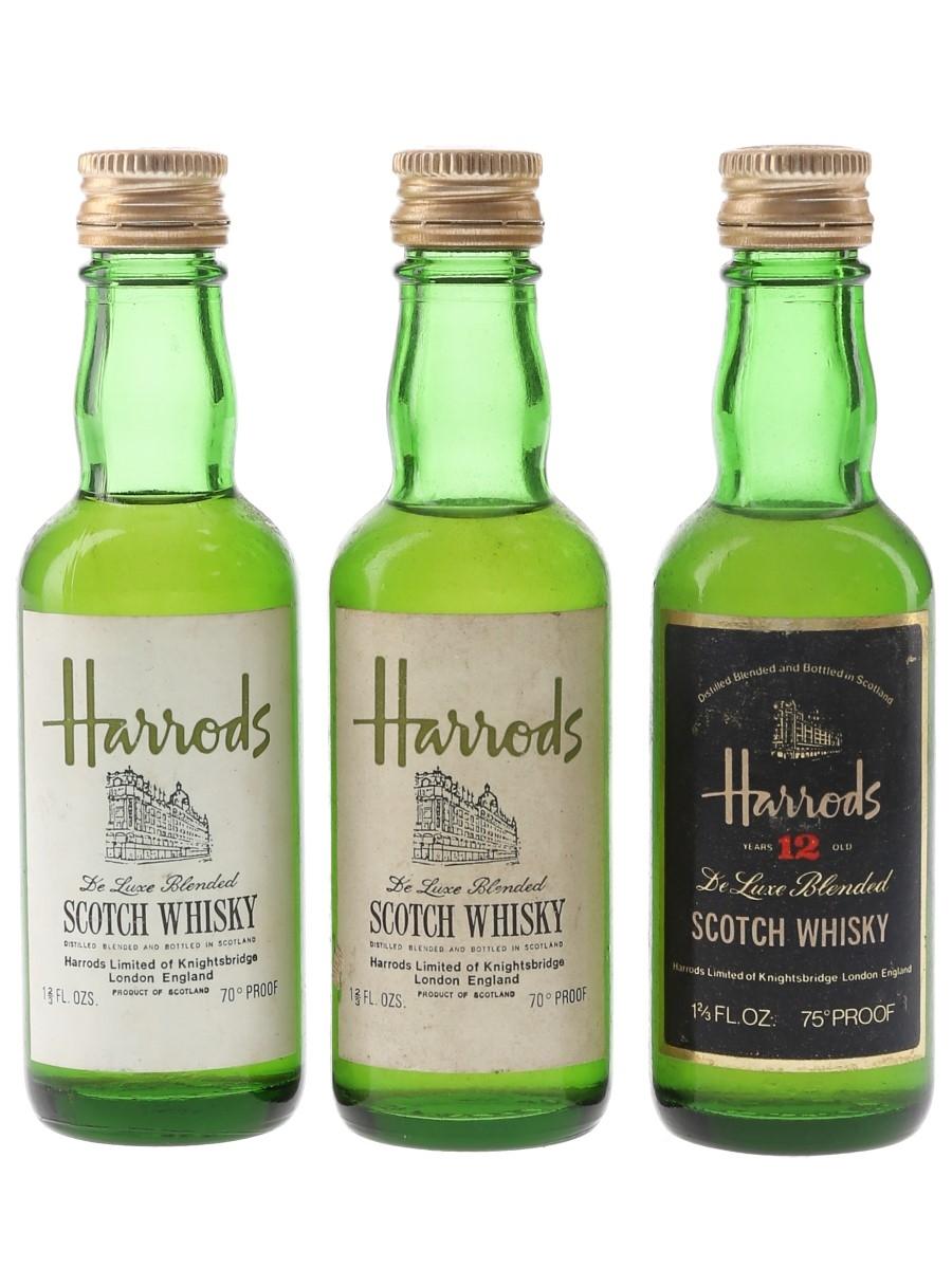 Harrods 12 Year Old & De Luxe Bottled 1970s 3 x 4.7cl