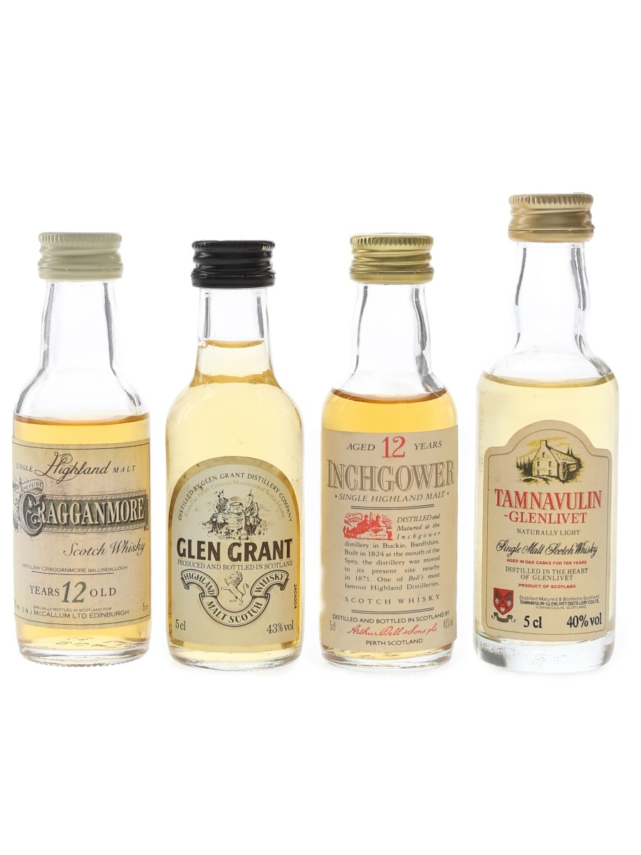 Cragganmore, Glen Grant, Inchgower & Tamnavulin Bottled 1980s 4 x 5cl
