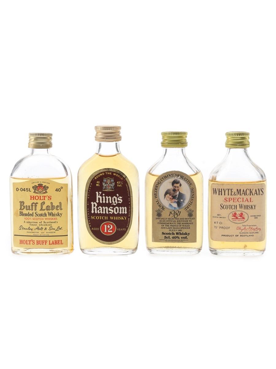 Buff Label, King's Ransom, Ian Macleod & Whyte & Mackays Bottled 1980s 4 x 4cl-5cl