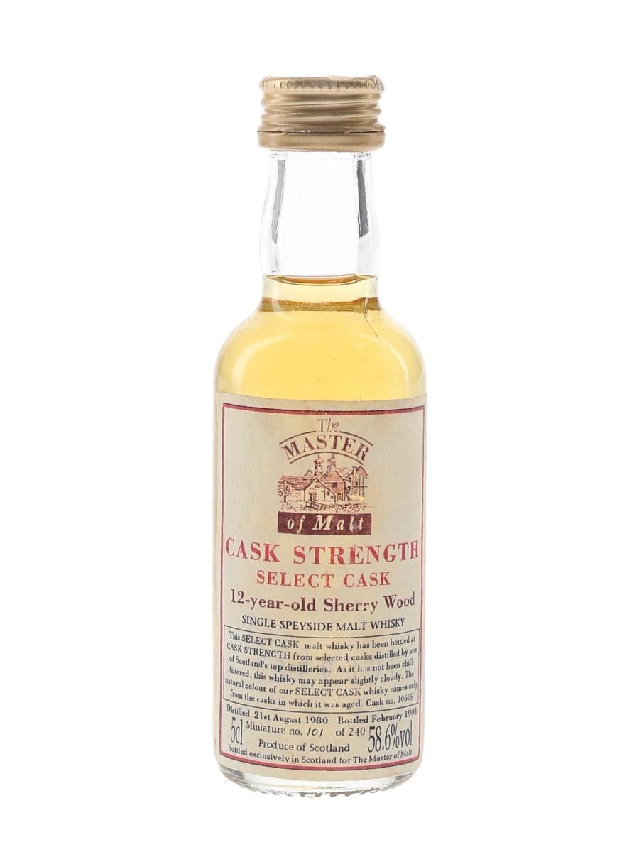 Master Of Malt Speyside 1980 12 Year Old Cask Strength Bottled 1993 5cl / 58.6%