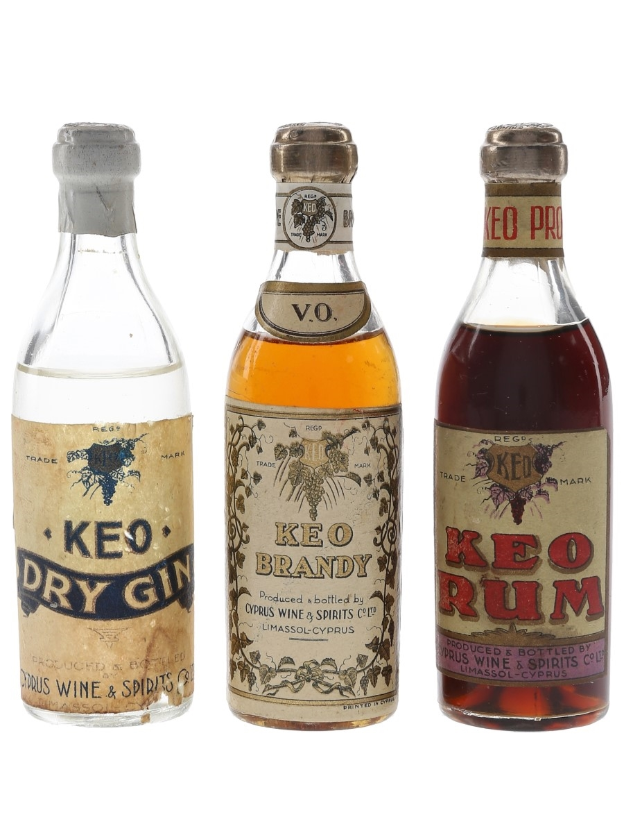 Keo Brandy, Gin & Rum Bottled 1930s-1940s 3 x 5cl