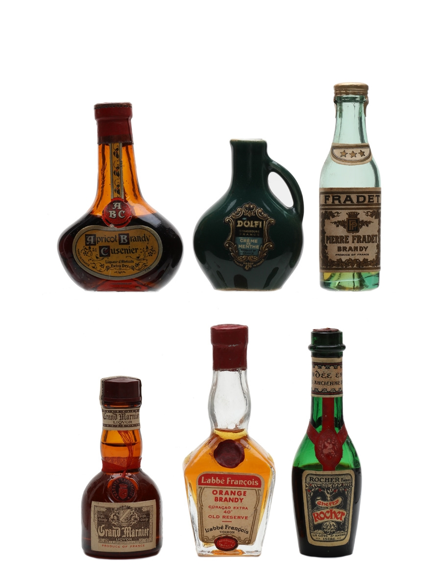 Assorted French Spirits & Liqueurs Bottled 1950s-1960s 6 x 3cl-5cl