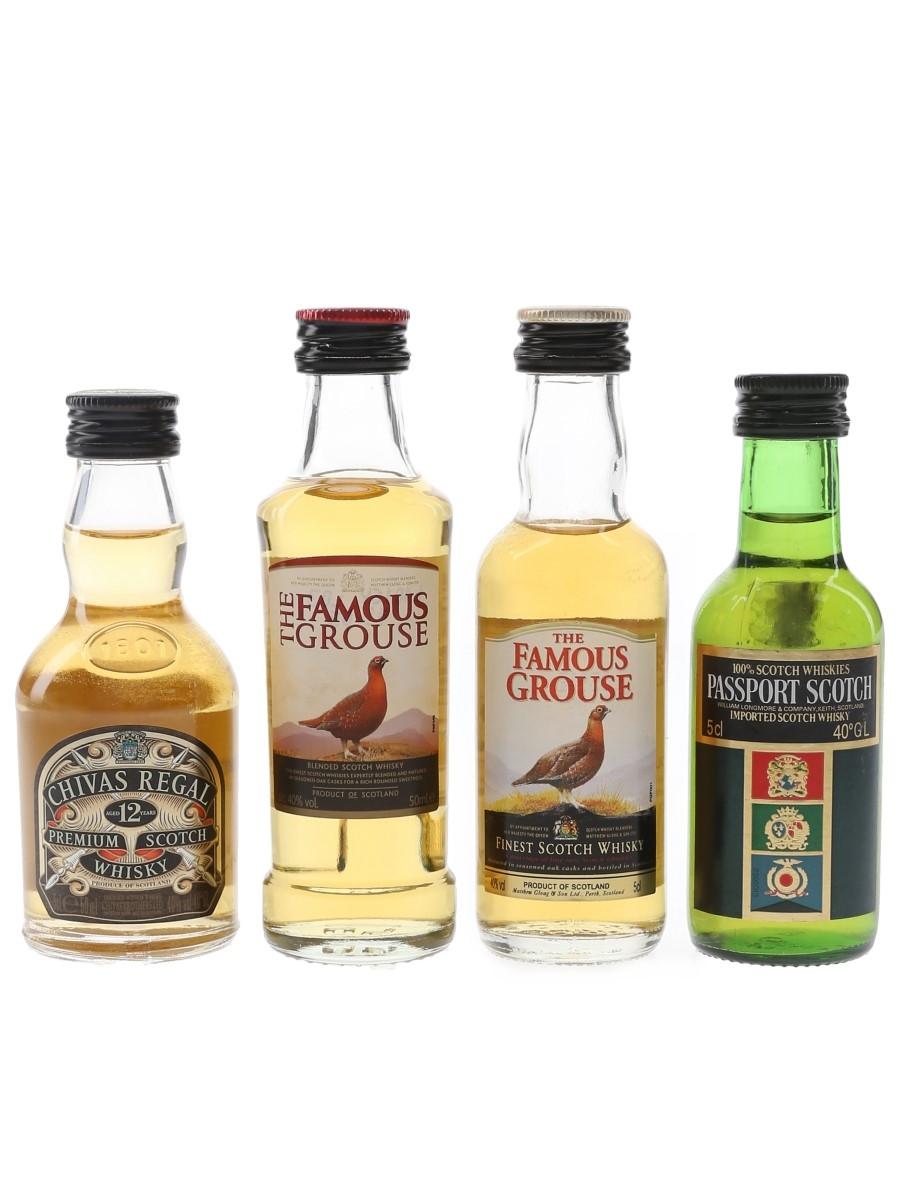 Chivas Regal, Famous Grouse & Passport Scotch  4 x 5cl