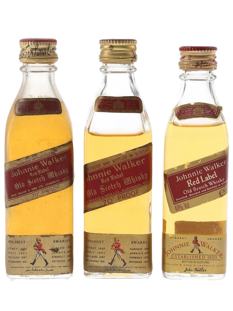 Johnnie Walker Red Label Bottled 1970s & 1990s 3 x 5cl / 40%