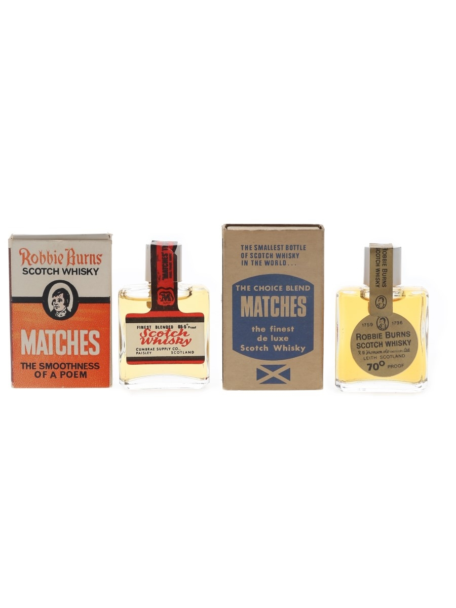Robbie Burns Matches Bottled 1970s - The World's Smallest Bottles Of Scotch Whisky 2 x 1cl / 40%