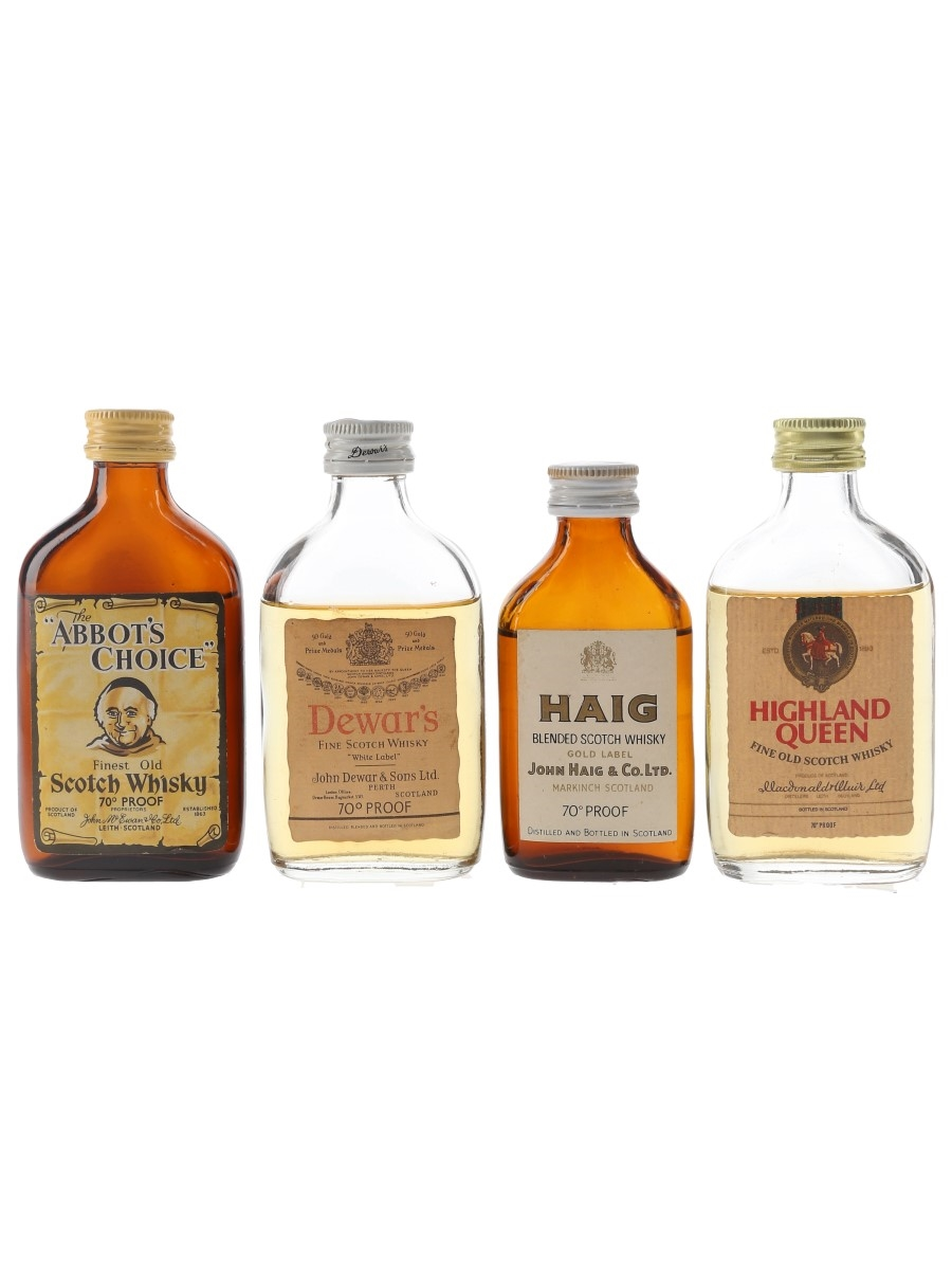 Abbott's Choice, Dewar's, Haig & Highland Queen Bottled 1970s 4 x 5cl / 40%