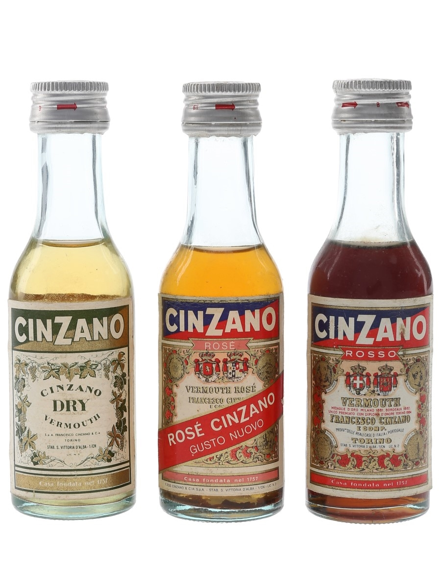 Cinzano Dry, Rose & Rosso Bottled 1970s 3 x 5cl