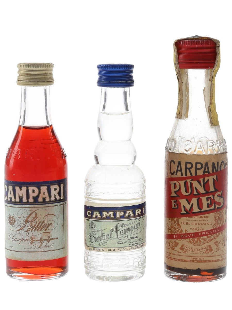 Campari Bitter, Cordial & Carpano Punt E Mes Bottled 1970s & 1980s 3 x 3cl-5cl