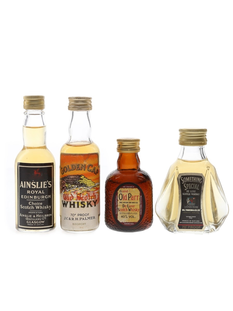 Ainslie's, Golden Cap, Grand Old Parr & Something Special Bottled 1970s-1980s 4 x 5cl