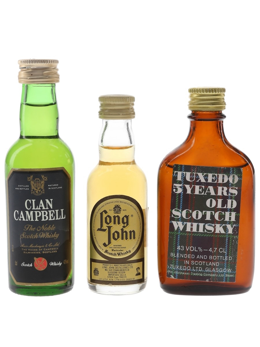 Clan Campbell, Long John & Tuxedo Bottled 1980s 3 x 3cl-5cl