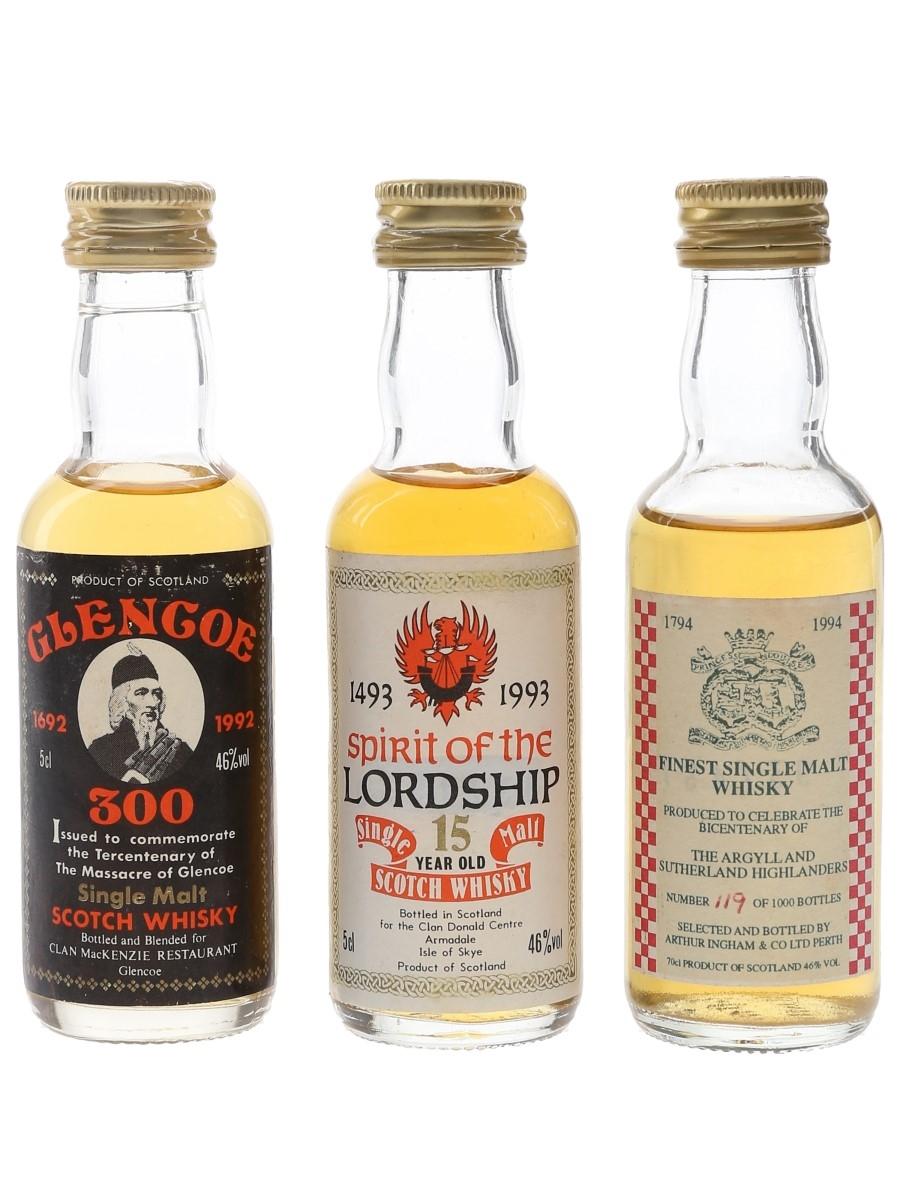 Arthur Ingham, Glencoe, Spirit Of The Lordship Bottled 1990s - Commemorative Miniatures 3 x 5cl / 46%