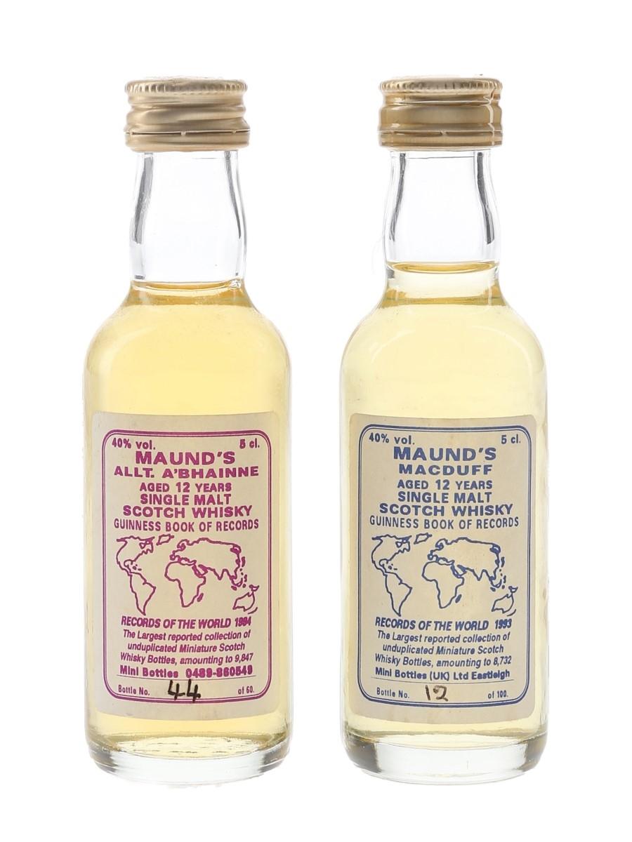 Maund's Allt A Bhain & Macduff 12 Year Old Guinness World Records 1993 & 1994 2 x 5cl / 40%