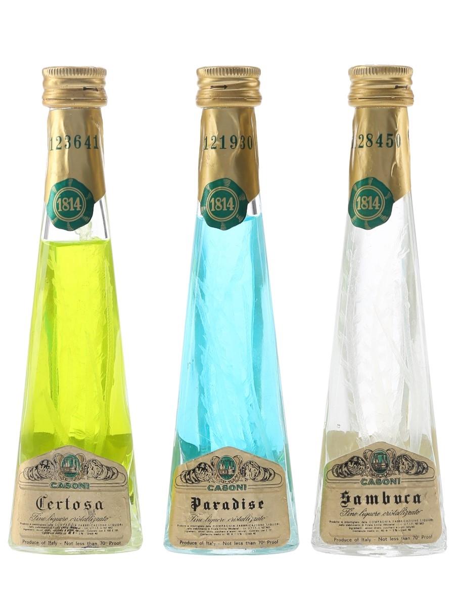 Casoni Cristallizzato Liqueurs Bottled 1970s - Certosa, Paradise, Sambuca 3 x 4cl / 40%