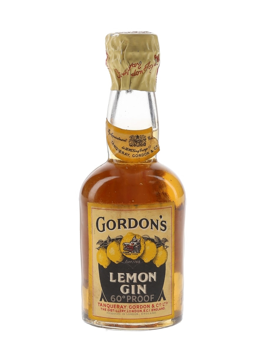 Gordon's Lemon Gin Spring Cap Bottled 1940s-1950s 5cl / 34%