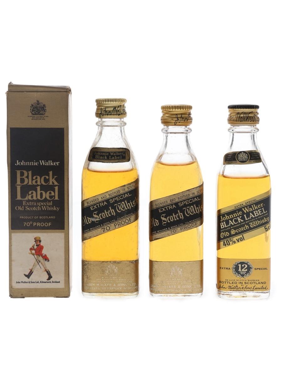 Johnnie Walker Black Label Bottled 1970s & 1980s 3 x 5cl / 40%