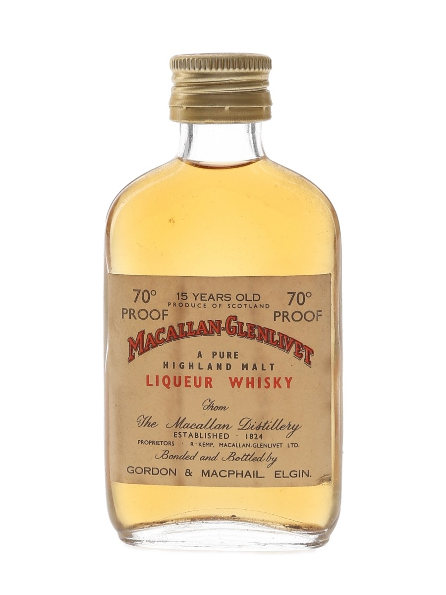 Macallan Glenlivet 15 Year Old Bottled 1970s - Gordon & MacPhail 5cl / 40%