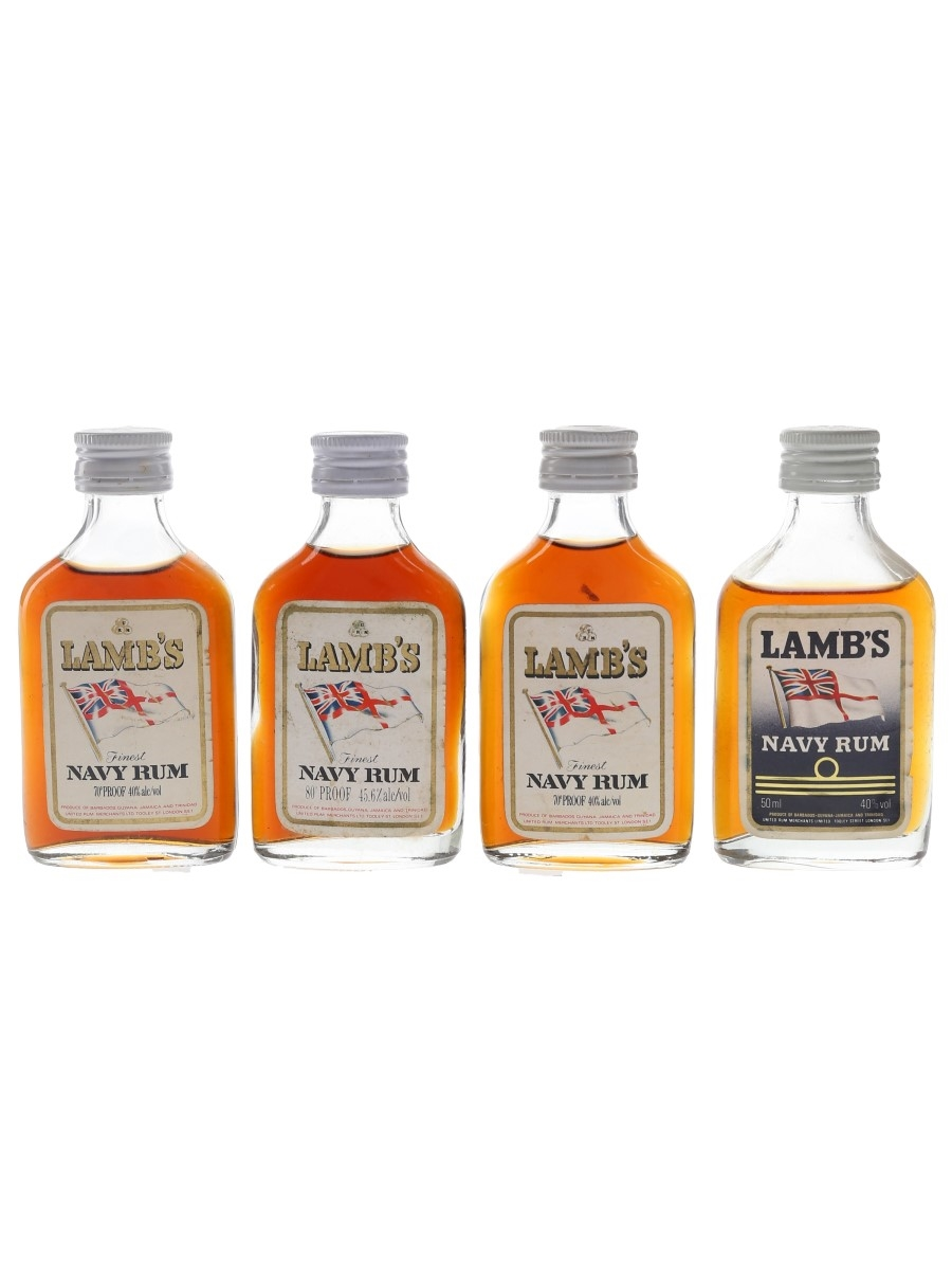 Lamb's Finest Navy Rum Bottled 1970s & 1980s 4 x 5cl