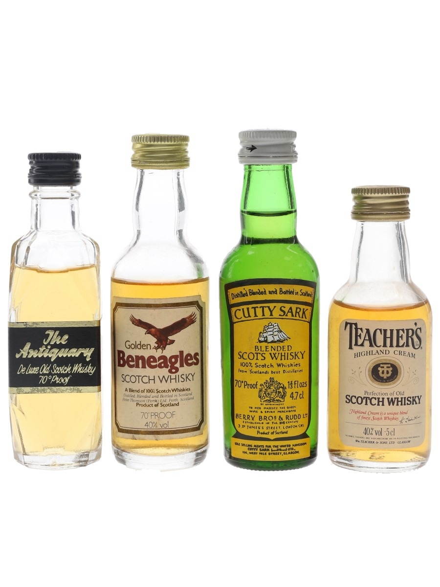Antiquary, Cutty Sark, Golden Beneagles & Teacher's Bottled 1970s & 1980s 4 x 4.7cl-5cl / 40%