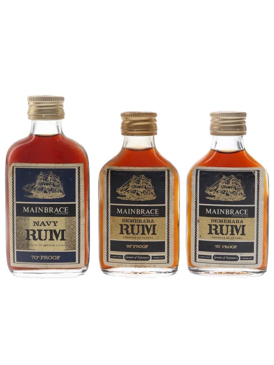 Mainbrace Demerara Navy Rum Bottled 1960s & 1970s 3 x 5cl / 40%