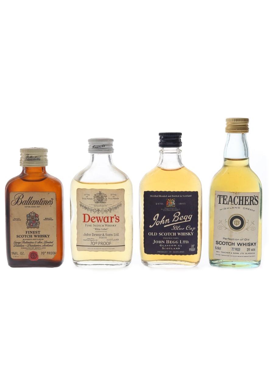 Ballantine's, Dewar's, John Begg & Teacher's Bottled 1970s 4 x 4.7cl-5.6cl / 40%