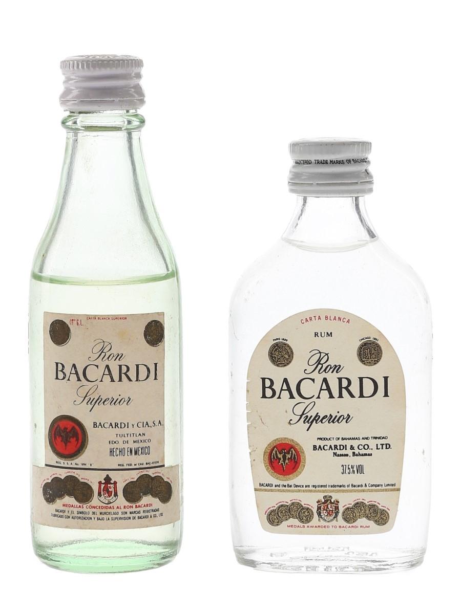 Bacardi Carta Blanca Bottled 1970s - Bahamas & Mexico 2 x 5cl