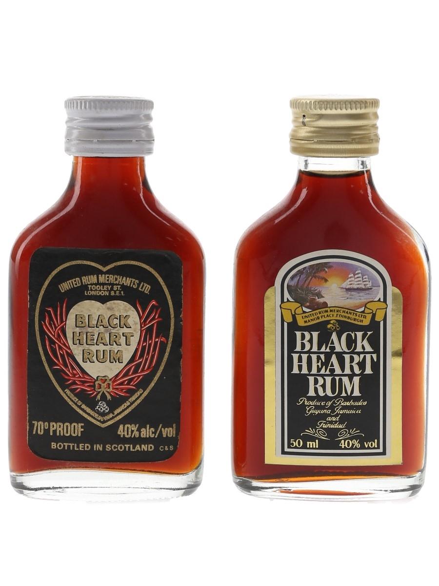 Black Heart Rum Bottled 1970s & 1980s 2 x 5cl / 40%