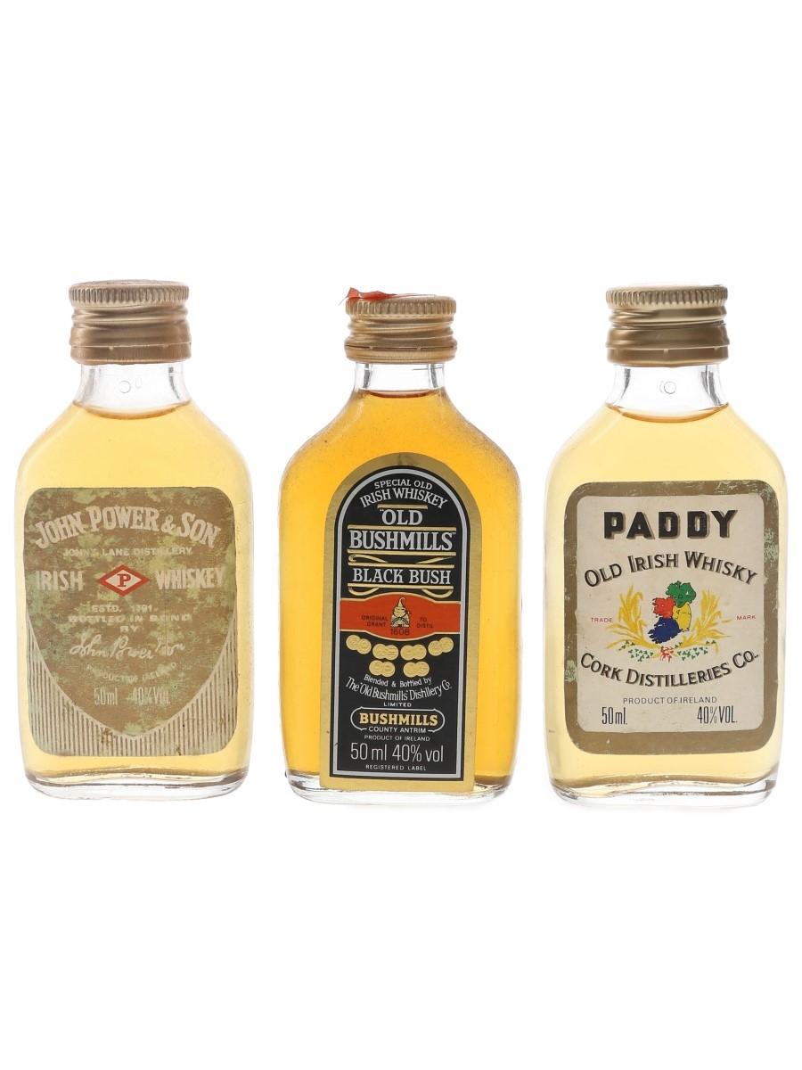 Old Bushmills, Paddy & John Power & Son Bottled 1980s 3 x 5cl / 40%