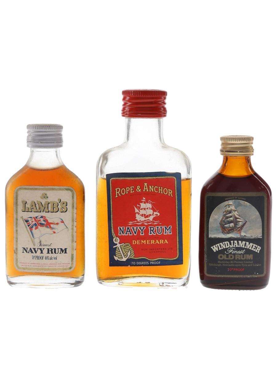 Lamb's, Rope & Anchor, Windjammer Rum Bottled 1970s 3 x 5cl / 40%