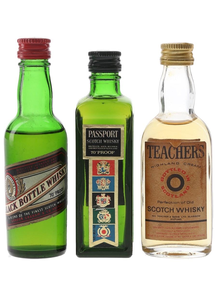 Black Bottle, Passport Scotch & Teacher's Highland Cream Bottled 1970s 3 x 4.7cl-5cl