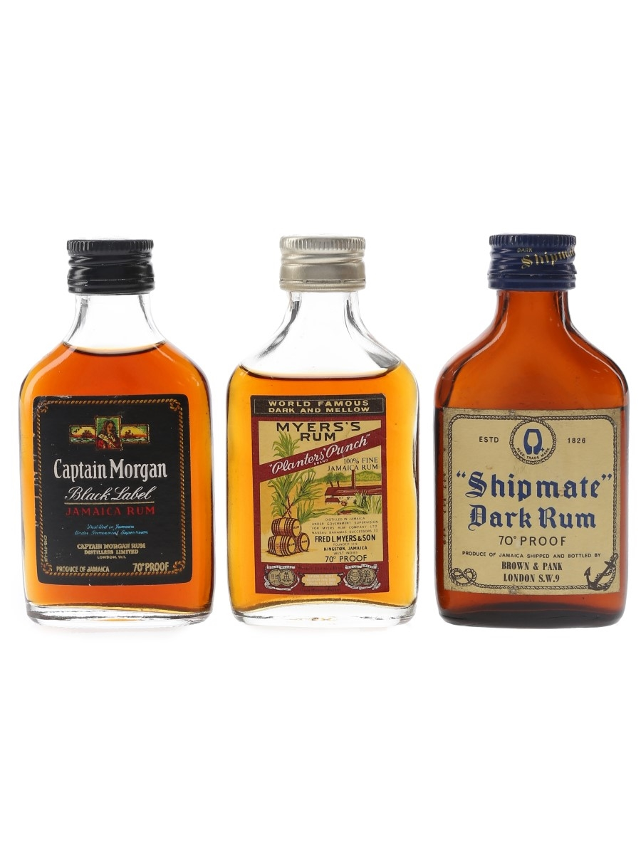 Captain Morgan, Myers's & Shipmate Bottled 1970s 3 x 5cl / 40%