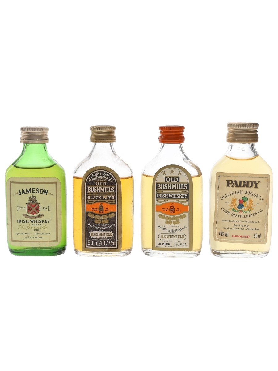 Jameson, Old Bushmills & Paddy Bottled 1970s & 1980s 4 x 4.6cl-5cl / 40%
