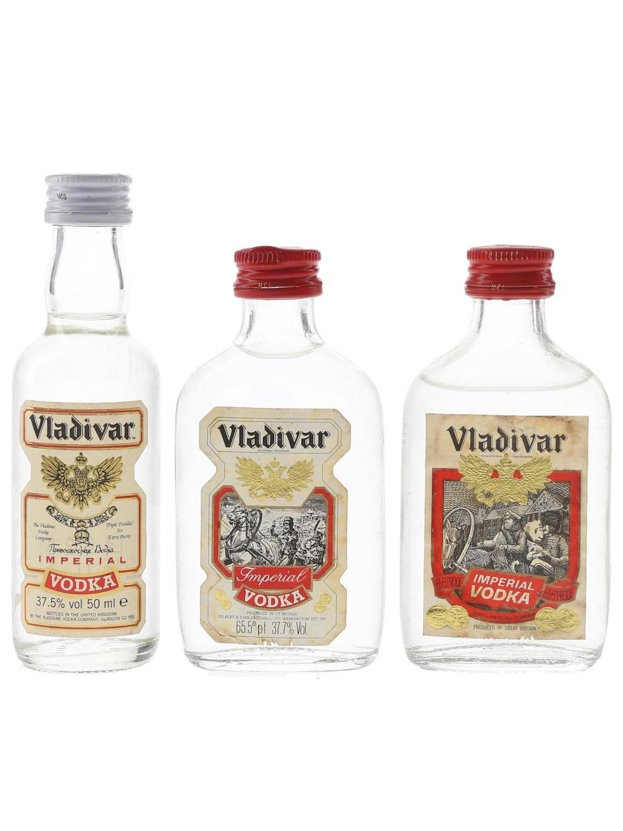 Vladivar Imperial Vodka Bottled 1970s & 1980s 3 x 5cl