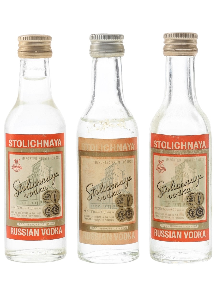 Stolichnaya Russian Vodka Bottled 1970s 3 x 5cl / 40%