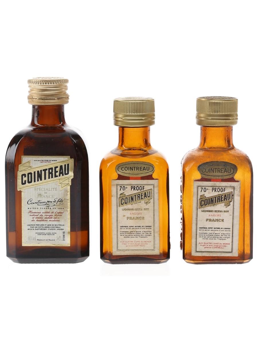 Cointreau Bottled 1970s & 1980s 3 x 3cl-5cl / 40%