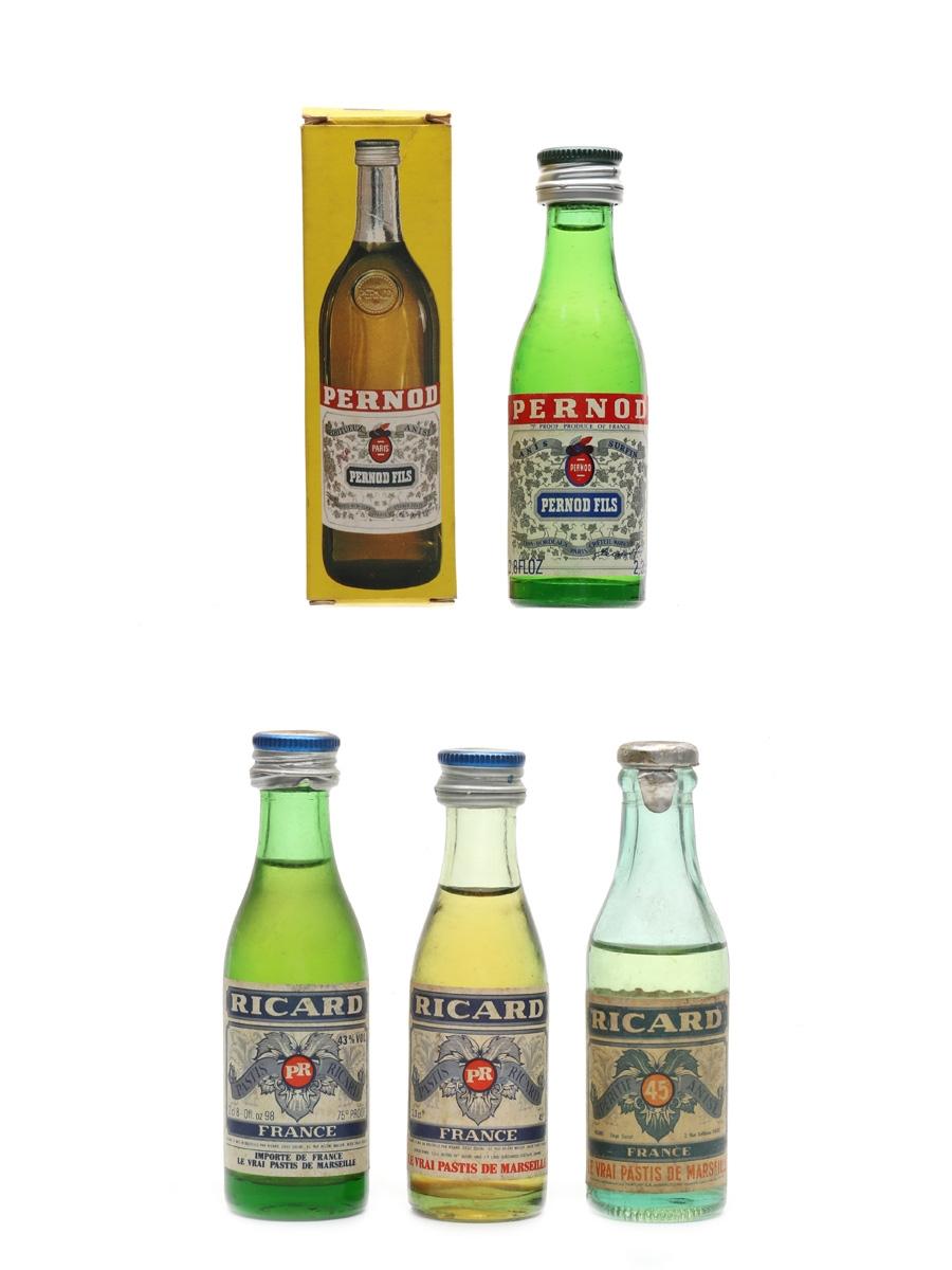 Pernod Ricard Bottled 1960s & 1970s 4 x 2.3cl-2.8cl / 45%